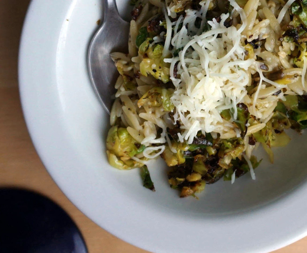 Roasted Brussels Sprouts with Pesto Orzo