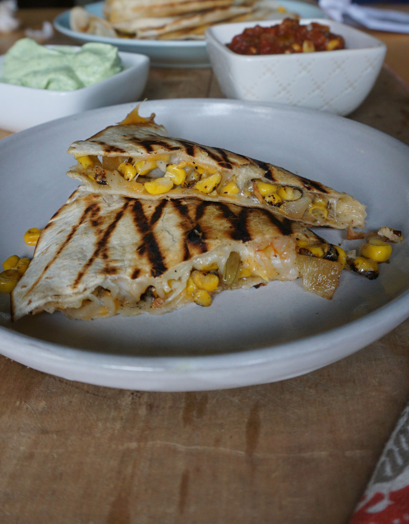 Shrimp and Roasted Corn Quesadillas with Avocado Dipping Sauce