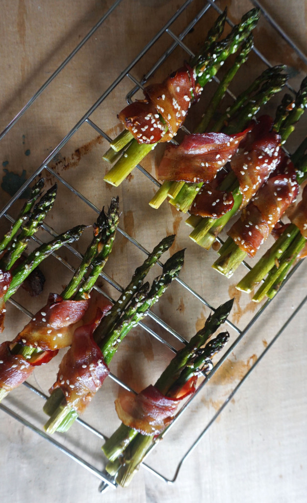 Sweet Sesame Bacon Wrapped Asparagus