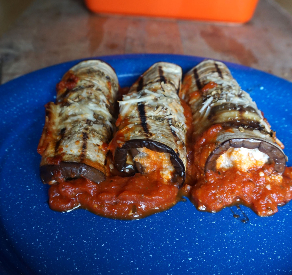 Ricotta Stuffed Eggplant Rolls
